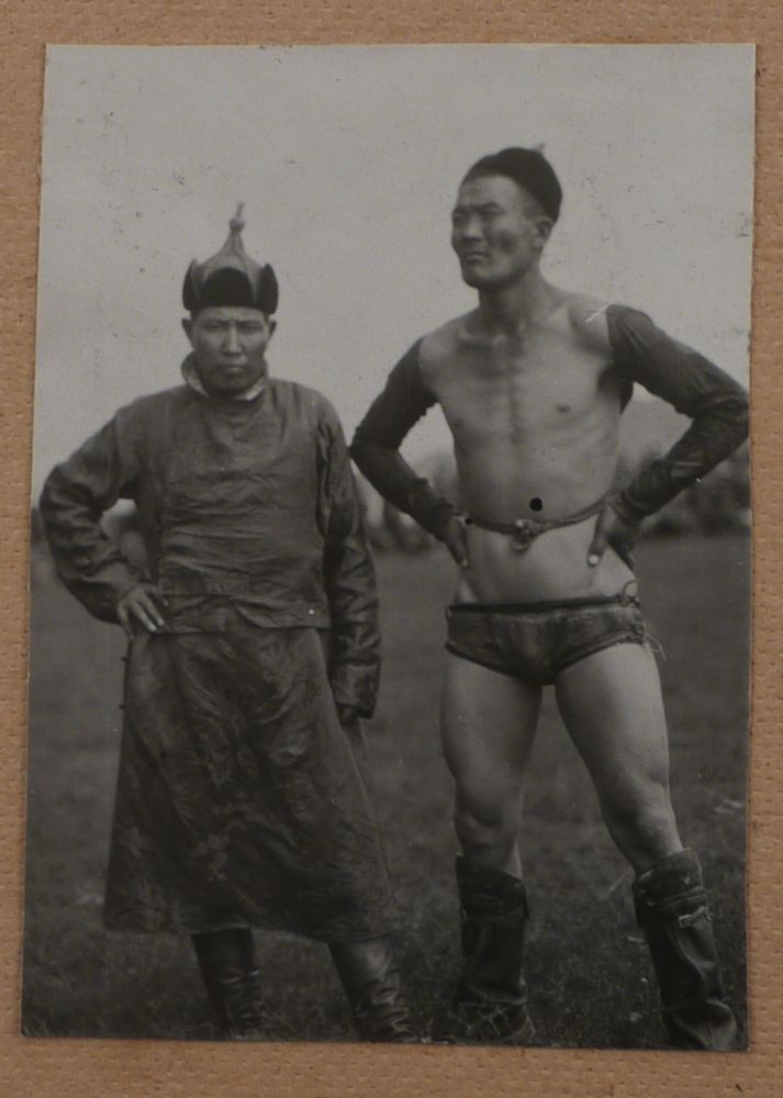 [Album with ca. 150 Original Gelatin Silver Snapshot Photographs of Ulaanbaatar during the Early Years of Socialistic Mongolia, Showing the Sükhbaatar Square, the Chinese Quarter, Bogd Khan's Winter Palace, Buddhist Temples, Zakhadyr Market, Scenes from the Naadam Festival, Mongolian Wrestling, Costumes, Hairdos, Yurts and Houses, etc.]. ASIA - MONGOLIA.