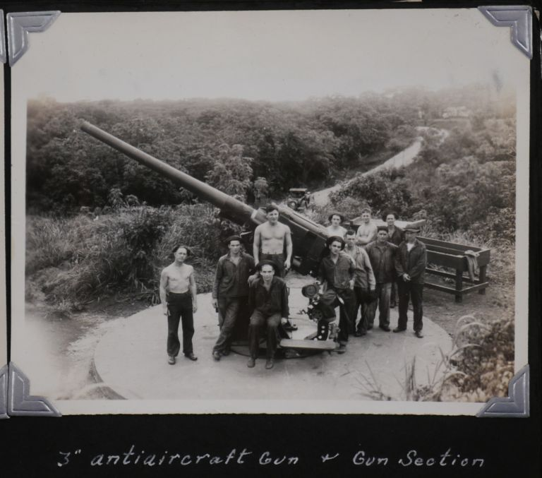 [Historically Important Album with 115 Original Gelatin Silver Photos of Fort Randolph and other Military Fortifications of the Panama Canal Zone, Showing Various Facilities, Artillery Guns and Mortars, Anti-Aircraft Searchlights, Soldiers, American and Japanese Naval Ships in the Canal, Military Planes, Also Views of Colon, Cristobal, Portobelo, San Blas Islands, Panama City, Balboa, Portraits of Native Panamanians, etc., Titled:] Fort Randolph, C.Z. Service Album. CENTRAL AMERICA – PANAMA CANAL ZONE.
