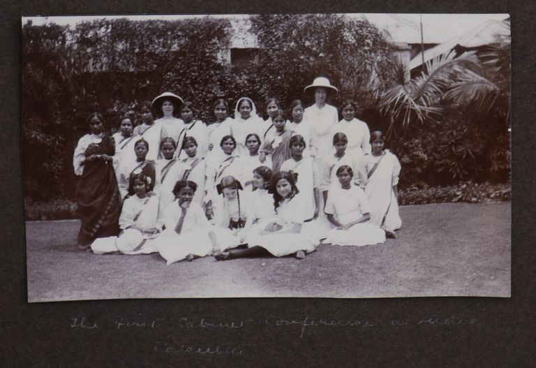 [Album with ca. 321 Original Gelatin Silver Photos and Cyanotypes, Documenting the 1914 Travel Across India by Young Women's Christian Association Officials from the United States, and Showing YWCA Associates and Facilities in India, Official Meetings, Picnics and Outings, Native Girls (Several Dressed in Western Dress), as well as Views of Madras, Calcutta, Bombay, Delhi, Agra, Benares, Darjeeling, etc., and Photos from the Side Trips to the Khyber Pass and Kashmir]. ASIA - INDIA - YWCA.