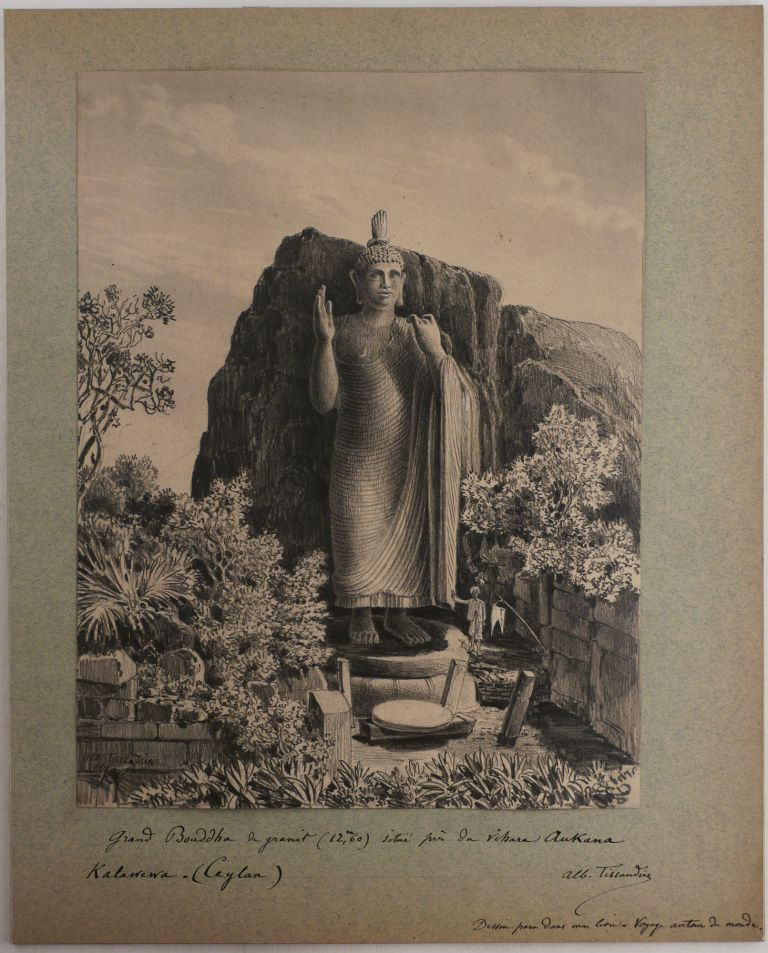 Twenty-One Original Drawings by Albert Tissandier Showing Buddhist Temples, Sculptures, Ruins,...