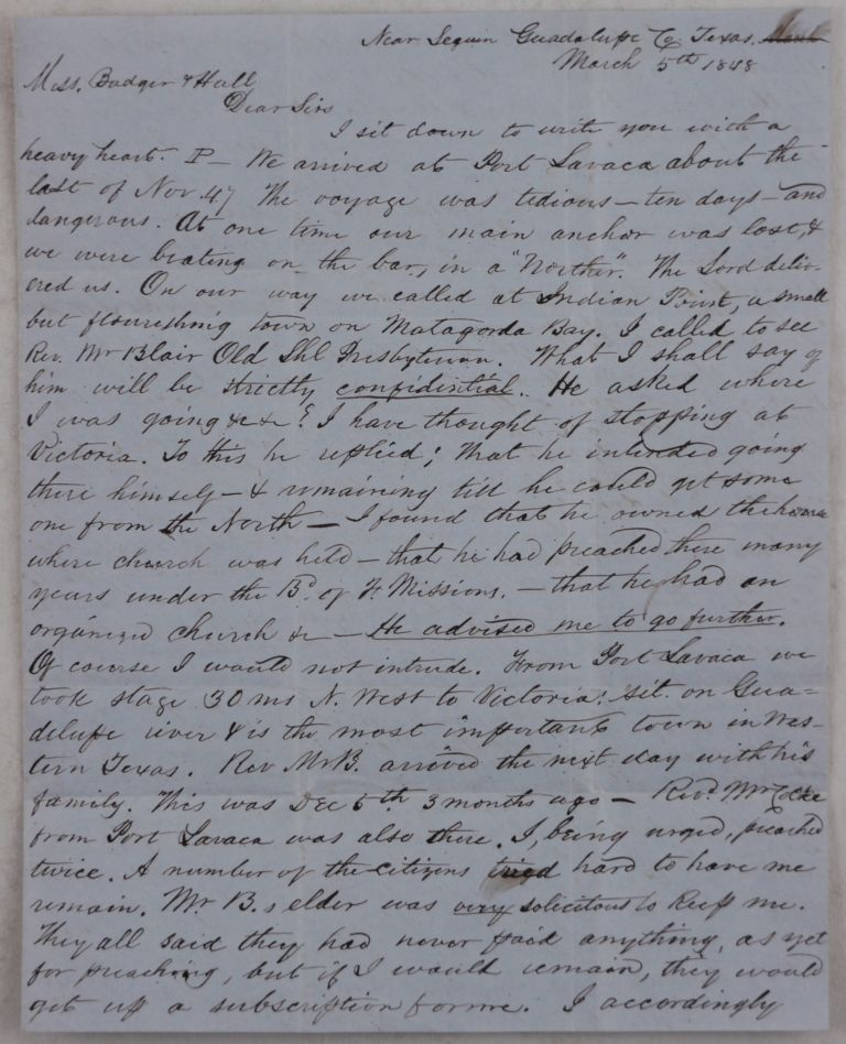[Autograph Letter Signed to the Secretaries of the American Home Missionary Society, Reporting on his Attempt to Establish a Church in Western Texas, and Talking about his Visits to Indian Point, Victoria, De Witt County, Gonzales, Seguin, and New Braunfels, and high Prices for food in Western Texas, &c.]. NORTH AMERICA - TEXAS – PRESBYTERIAN MISSIONARIES, Rev. J. L. HAWLEY.