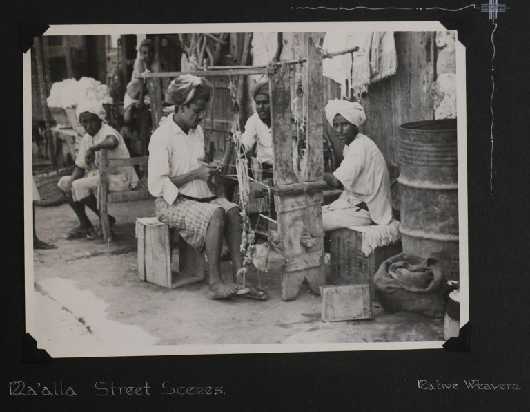 [Interesting Album with Forty-two Large Original Photographs of the Aden Protectorate in Yemen in WW2 Compiled by a Member of the No. 131 M.U. (RAF Maintenance Unit) Stationed in Khormaksar, Aden March 1942, Including Nine Photos of the Environs of Cape Town at the end]. MIDDLE EAST - ADEN PHOTO ALBUM.
