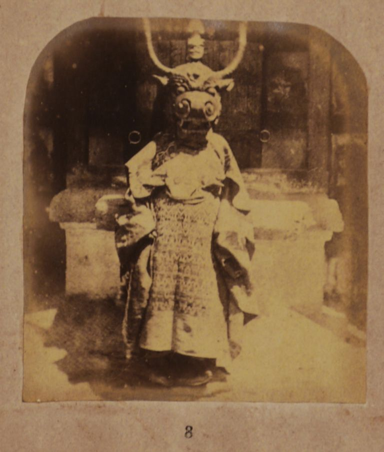 [One of the Earliest Descriptions of the Famous Hemis Festival and Cham (Monastic Dance Ceremony) in the Himalayan Buddhist Hemis Monastery in Ladakh, Illustrated with the First Ever Photographs of the Monks, Musicians and Masked Dancers during the Ceremony in an 1865 Issue of the Journal of the Asiatic Society of Bengal]. ASIA - LADAKH, photographer, Henry Haversham GODWIN-AUSTEN, Lt.-Col., Alexander Brodie MELVILLE, Capt.