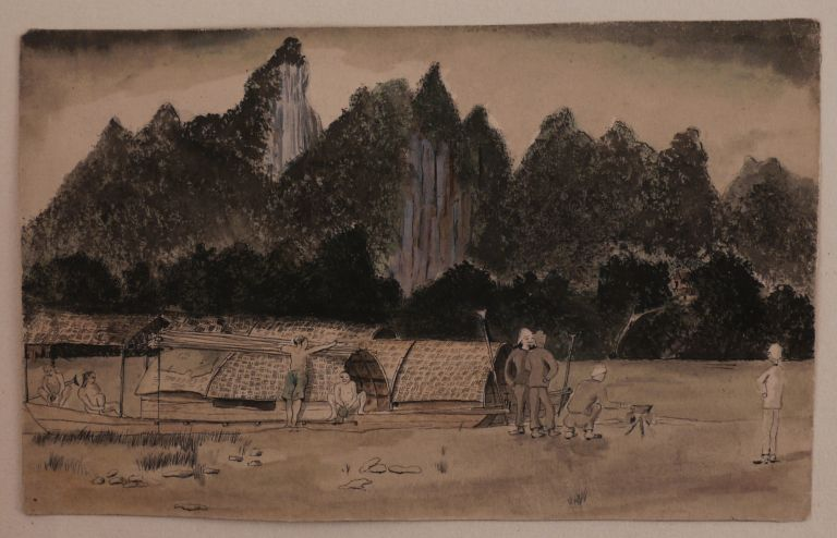[Album of Ten Original Pen and Wash Sketches of Military Fortifications, Villages and Mountainous Views of Tonkin (North Vietnam) Taken by a Participant of the French Military Campaign on Pacification of Tonkin (1886-1896)]. ASIA - VIETNAM - TONKIN, Au BORNAS, ust?