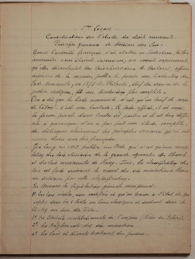 [Autograph Manuscript Notes on Vietnamese Law Written and Dated by Professor and Legal Expert Charles Fruteau, Including 26 Lessons on Ritual, Administrative, Civil, Family, and Property Law, Titled:] Droit civil annamite. ASIA - VIETNAM, Charles FRUTEAU.