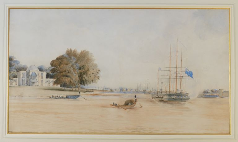 Calcutta from Garden Reach. HMS Calliope Saluting. [Original Watercolour]. ASIA - INDIA - CALCUTTA, Francis MEYNELL, Lieutenant, RN.
