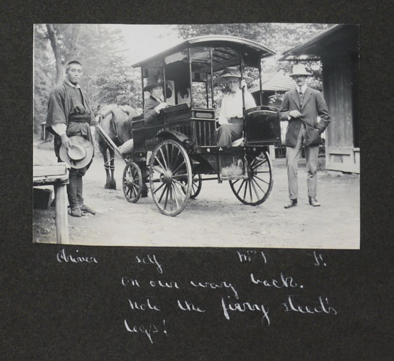 [Album of 125 Original Gelatin-Silver Photographs of Central Japan Including Nikko, Mount Nasu, Mount Asama, Kyoto, Kamakura etc., Showing Architecture, Landscapes, Temples and Local People etc.[With] Six Original Japanese Prints and two Original Watercolours]. ASIA - JAPAN.