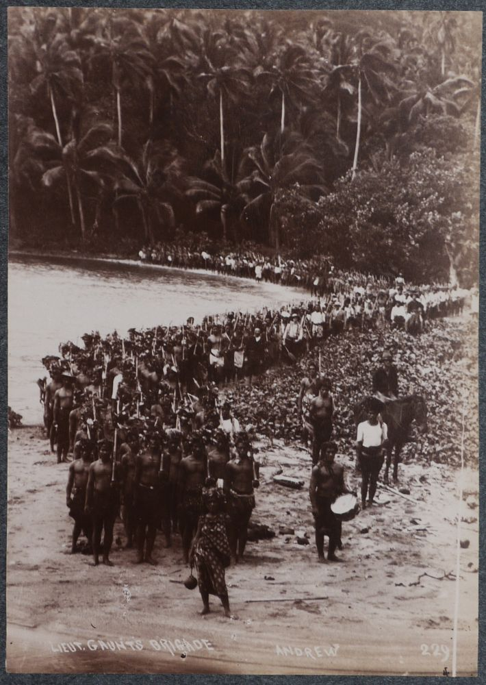 """[Album with Eighty-Five Original Albumen and Platinum Photographs of Samoa, Including Six Panoramas of Apia Harbour, Views of Apia (Mulinu'u village, Immaculate Conception Cathedral, German Courthouse), Villa Vailima of R.S. Stevenson, Mount Vaea, Waterfalls on Upolu Island (Falefa, Papaloloa, Papase'ea, Falealili), Villages on Upolu Island (Falevao, Salani, Lalomauga, Falese'ela, Vaiee), Savaii Island (Matautu village, Safuni Lake), Tutuila Island (Pago Pago), Three Rare Views of Apolima Island, Portraits of the First Governor of German Samoa, Native Members of """"Lieut. Gaunt's Brigade,"""" Samoans in a War Canoe, Six Photos of the Wrecked German and American Naval Ships after the 1889 Apia Hurricane, etc.]. SAMOA, Alfred John TATTERSALL, Thomas ANDREW."""