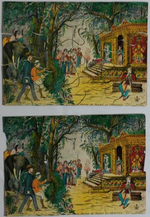 """[An Attractive Set of Five Chromolithographed Jigsaw Puzzle Pictures with the Scenes from Jules Verne's """"Around the World in 80 Days,"""" in the Original Box and with Five Chromolithograph Prototypes Showing the Complete Pictures:] Le Tour du Monde en Quatre-Vingt Jours."""
