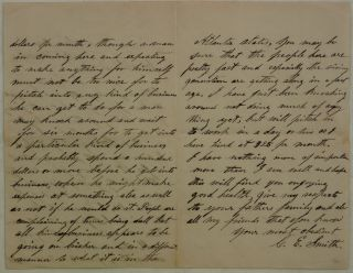 [Historically Interesting Autograph Letter Signed from C. E. Smith, an Early Inhabitant of San Jose, California, to James P Slusser of Blacksburg, Virginia, Dated San Jose, CA, April 16th 1859 Describing Business Opportunities Including Mining and Ranching Available and Salaries Being Paid in San Jose and Environs. [With] Original Opened Brown Cover Envelope with Cancelled Ten Cent Stamp, Additionally Post Marked with Black ink Stamp San Jose Apr. 18 and with Address in Manuscript Brown Ink.