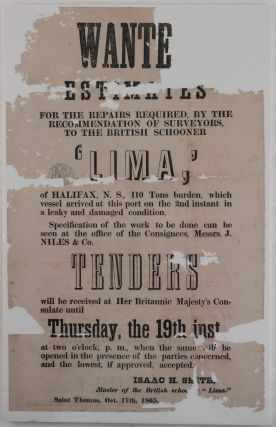 """[Archive of Over Fifty Documents Relating to the Final Days of the British Schooner """"Lima""""]."""