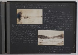 """[Album with Sixty Original Gelatin Silver Photograph Portraits Taken on a Voyage from St. John's in Newfoundland to Rowsell Harbour Located North of Saglek Bay in Northern Labrador, Including Views of Rowsell Harbour and Camp Headquarters, Moravian Missionary Station in Hebron, Bays and Inlets of Labrador, Icebergs and Packed Ice, St. John's, Brigus, Portraits of Inuit, Missionaries, """"liveyere Old Tom Evans and His Dogs"""" Edgar Moxham Himself, etc]."""
