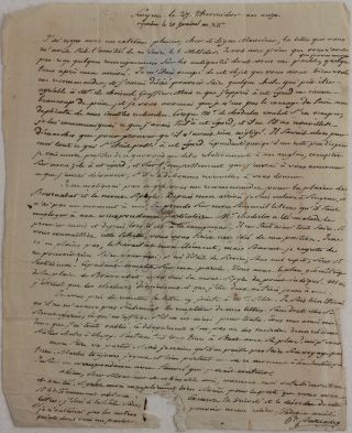 Autograph Letter Signed to Jean-Denis Barbie du Bocage (1760-1825 - French Cartographer and...