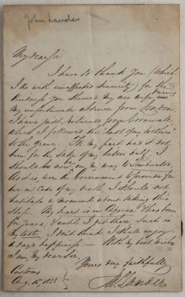 """[Autograph Letter Signed """"John Lander"""" to William Jerdan, the Editor of the """"Literary Gazette,"""" Talking about his Dream to go to Timbuktu, and that his """"heart is in Africa & has been for years, & until I get there such is my taste, I don't think I shall enjoy a day's happenings""""]."""