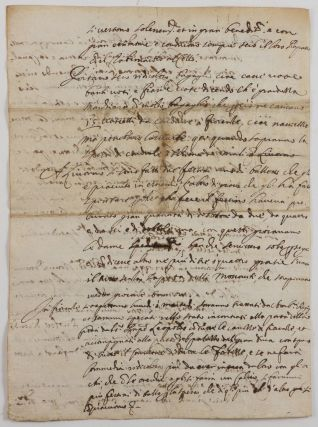 [REMARKABLE PRIMARY SOURCE ON 17TH CENTURY RUSSIAN-WESTERN EUROPEAN RELATIONS]. Relatione d'Alcuni Costumi de'Sig.i Ambasc. Moscoviti, che ora si trovano in Livorno per passare all'Ambasciata di Venezia [Autograph Letter by an Anonymous Author from Livorno Witnessing the Muscovite Embassy to Venice (1656-1657) and Containing Vivid Observations and Remarks About Russians].