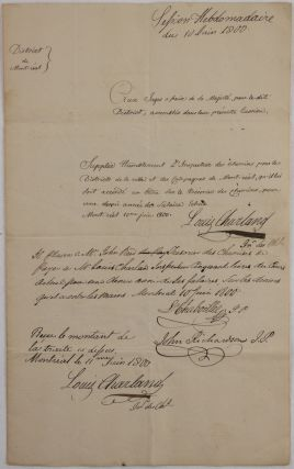 Manuscript Signed Document in French of Charland's Request for Payment of his Salary at the...