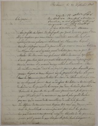 Autograph Letter in French from a Young French Cotton Merchant in Rio de Janeiro to his Father,...