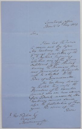 "Autograph Letter Signed ""Meredith"" to James McFesters, the Mayor of Bowmanville, Regarding..."