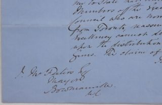 "[Autograph Letter Signed ""Meredith"" to James McFesters, the Mayor of Bowmanville, Regarding Russian Guns Captured During the Crimean War and Transferred to Canada]."