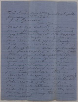 [Historically Significant Archive of Twenty Autograph Letters, Nineteen Signed by William Hardy and Addressed to His Business Partner John G. Garrison and one Letter from Garrison to Hardy, Describing the Pioneering Days of Hardyville (now Bullhead City) and Prescott, Including the Construction of the first Dwellings, Skirmishes with the Native Americans, Gold and Silver Prospecting, and Mentioning the Cariboo Gold Rush and the Assassination of Abraham Lincoln].