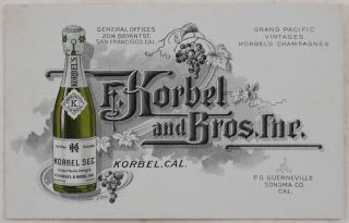 [Attractive Collection of Over Seventy Rare Documents and Ephemera Illustrating the Early History of Californian Wineries and Liquor Producers, Including Correspondence and Envelopes with the Official Letterheads, Postcards and Business Cards, Two Albumen Photos of the Wineries and Their Managers, Invoices and Receipts, Shares, Price Lists and Wine and Liquor Labels].