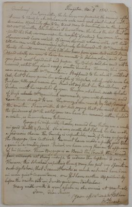 "Autograph Letter Signed ""Jn. Stuart"" to His Son, James Stuart, then Personal Secretary of..."