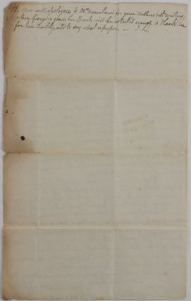 "[Autograph Letter Signed ""Jn. Stuart"" to His Son, James Stuart, then Personal Secretary of Lieutenant Governor of Lower Canada Sir Robert Milnes]."