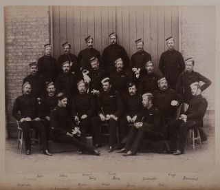 [Album of 50 Original Albumen Photographs Showing the Royal Artillery Park in Halifax, the Officers' Mess, Close-Up Photos of the Artillery Guns, Eight Group Portraits of the Artillery Officers, with Many Names Marked, Group Portraits of the Officers' Wives and Families, etc.]