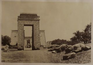 [Album with Twenty-One Original Albumen Photos of the Ancient Temples of Egypt (Djoser Pyramid in Saqqara, Temples in Dendera, Karnak, Luxor, Abu Simbel, Philae Island), Nile's First Cataract, Tombs of the Califs and Sultan Hassan Mosque in Cairo, the Bacchus Temple in Baalbec, Wailing Wall in Jerusalem, the Valley of Josaphat, and others, Titled:] Documents Archéologiques sur la Egypte. Nubie. Syrie. P. Verdier de Latour, 1875.