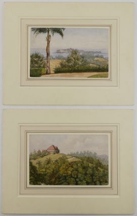 [Two Original Watercolours of the Andaman Islands, Titled on Verso]: 1) Ross Islands from the Aberdeen District Officers' House, Port Blair; and 2) Government Rest House, Mount Harriet – Port Blair.