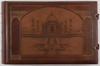 [Beautiful Elaborately Decorated Art Nouveau Album by the Famous German Bindery of Georg Hulbe with Fifty-One Original Gelatin Silver Photographs of Benares, Agra, Delhi, Lucknow, Jaipur, Dilwara Temples, Portraits of Indian Street Sellers, Dancers, Snake Charmers, Peasants with a Leopard, Etc.]