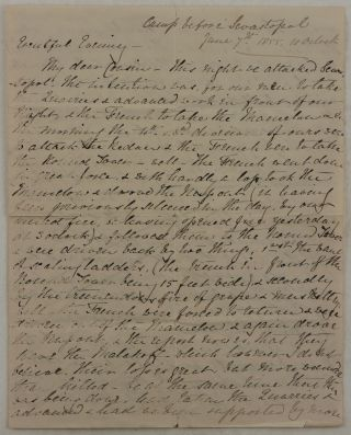 [Collection of Seven Original Autograph Letters Signed, Written During the Siege of Sevastopol, Which Describe the Battle of the Great Redan, the Explosion of the French Magazine on November 15, 1855; Fights between French and British Soldiers; an Arm Amputation he Assisted with; Mentions Several British Commanders; Lists the Menu of the Field Dinner Commemorating the Victory at Alma, etc.; With: An Oil-Heightened Chromolithographed Portrait of Perceval].