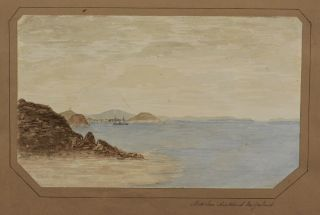 [Album with Four Original Watercolours and One Ink Drawing of New Zealand, Showing Auckland, British Stockade at the Bluff on the Waikato River, Taupiri Mission Station and British Camp in Ngaruawhia; With Two Early Original Albumen Photos of Maori Women.]