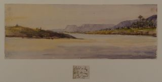 [Rare Collection of Twenty-Seven Early Original Watercolour Views of the Nile, Taken During a Cruise in Winter 1864-1865 and Showing the Ancient Sites and Cliffs of Upper Egypt and Nubia, and the Second Cataract].