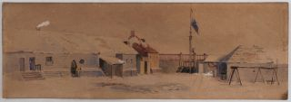 Two Original Signed Watercolours: One of the Interior of Russian American Company's Fort...
