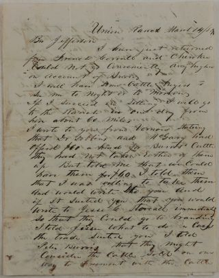 Original Autograph Letter Signed and Addressed to Noted Californian Pioneer Jefferson Wilcoxson,...
