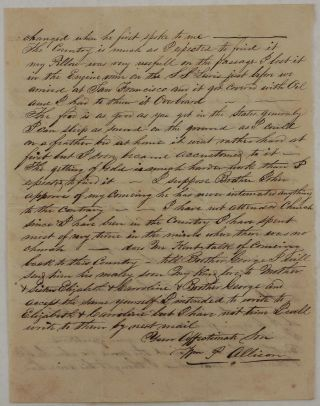 """[Original Autograph Letter Written by a Young Gold Miner to his Parents, with Interesting Notes on the First Years of Sacramento City, Including the Latest Fire (November 1852) and the Reconstructed City with """"Most Houses Built with Rough Boards,"""" Muddy Streets and the Transportation of Goods on Boats Pulled by Horses, the Breakage of the New Levee (completed just in November 1852) and the Imminent Flood, etc.]"""