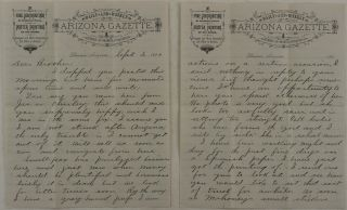 Original Autograph Letter Signed by an Arizona Pioneer Homer McNeil to His Brother, Written on...