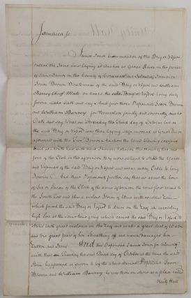 [Two Detailed Manuscript Testimonials of a Voyage of the Merchant brig Jane to the West Indies in 1780, and the Circumstances of Her Shipwreck during the Savanna-la-Mar Hurricane, Notarially Certified in Montego Bay and London; [WITH] a Period Copy of Jane's Portledge Bill for 1781].