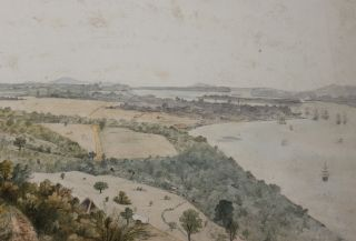 [Mawlamyine, Burma: Original Double-Page Watercolour Showing a Panoramic View of Moulmein].