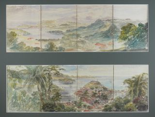 "Two Watercolour Panoramas each on four Joined Sheets Titled: ""St. Georges, Grenada from Hospital..."