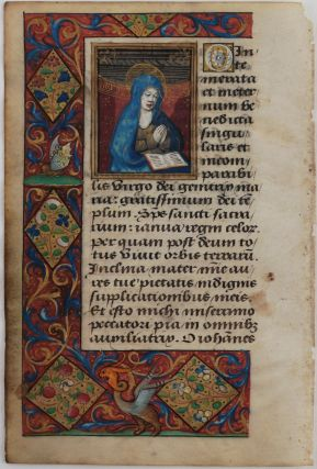 "Illuminated Manuscript Leaf from the ""Prayers"" Part of a French Latin Book of Hours, with the..."