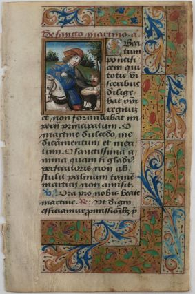 "Illuminated Manuscript Leaf from the ""Suffrages to Saints"" Part of a French Latin Book of..."