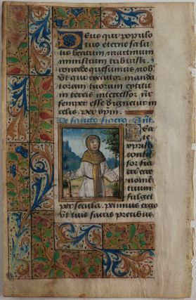 "[Illuminated Manuscript Leaf from the ""Suffrages to Saints"" Part of a French Latin Book of Hours, Appealing to Saint Martin and Saint Fiacre and Illustrated with Miniature Portraits of Both Saints]."