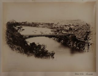 [Album with Thirty-seven Large Original Albumen Photos of Tasmania, Showing Engines and Carriages of the Tasmanian Main Line Railway, Three Important Photos of the 1886 Bridgewater Train Accident, Walter Webster's Royal Mail Coach on the Huon Road, Views of Hobart, Launceston, New Town, Sandy Bay, Mount Bischoff Tin Mine, Huon River Bridge, Sorell Causeway, Salmon Ponds on the Derwent River, Launceston Cataract Gorge, and Others].