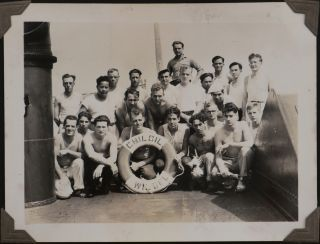 "[Album Most Likely Compiled by a Crew Member of the American Tanker ""Chiloil,"" with 23 Real Photo Postcards of Santos, 10 Small Studio Photos of Rio de Janeiro and 48 Original Gelatin Silver Photographs Showing ""Chiloil"" and its crew, Rio de Janeiro, Santos, Montevideo etc.]"