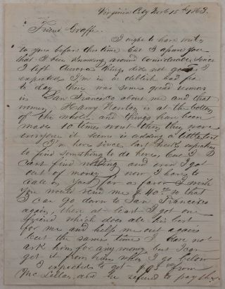 Autograph Letter Signed from the Nevada Mining Town Virginia City, Mentioning Aurora (once a...
