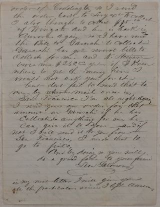 [Autograph Letter Signed from the Nevada Mining Town Virginia City, Mentioning Aurora (once a Gold and Silver Boomtown, but now a Ghost Town)) and Several of its Citizens, Including A.M. or C.D. Wingate, Joe Coddington and Francis Garesche].