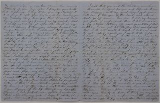 [Autograph Letter Signed to His Wife Rowena, Talking About His Gold Mining at the Humbug Creek (Siskyou County, Northern California), with the Details of Sluicing Operations, Notes about the Local Mail Service, His New Cat, and Expressive Passages Reassuring in His Love and Fidelity].