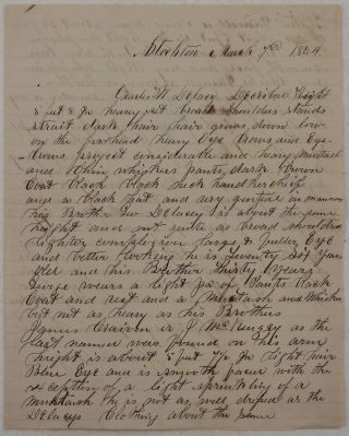 Original Manuscript Signed by a Stockton City Official, Describing the Appearance of Several...